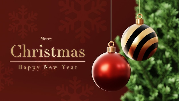 3d christmas baubles with christmas tree Premium Psd
