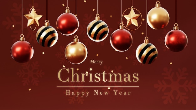 3d рождественские шары с елкой Premium Psd