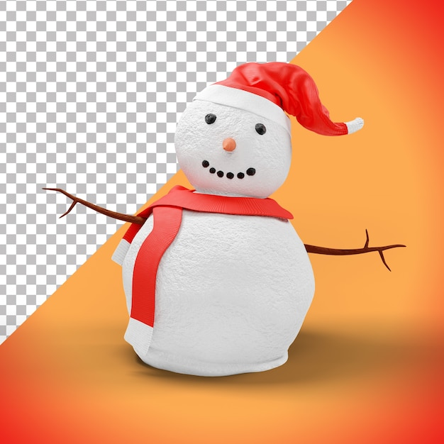 3d christmas snowman with red hat Premium Psd