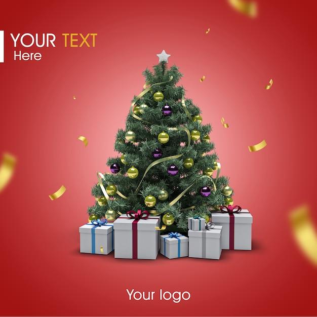 3d christmas tree mockup Premium Psd