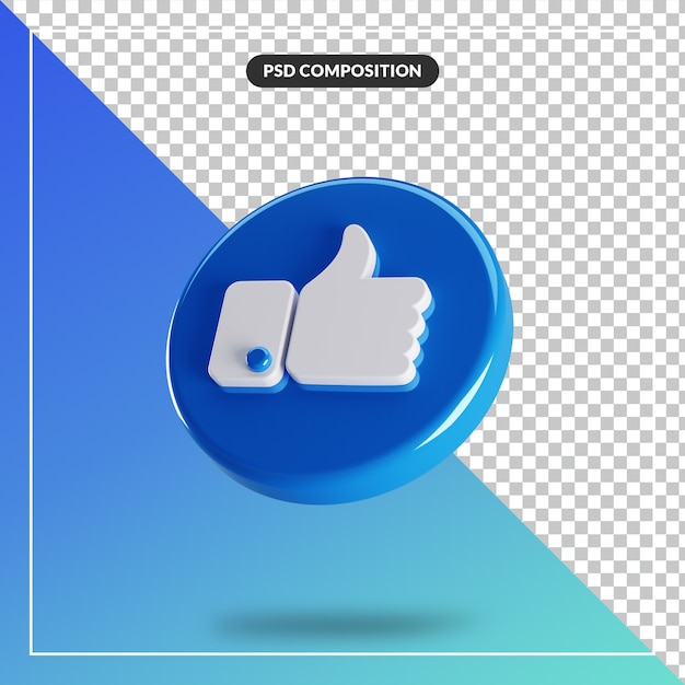 3d circle glossy like facebook icon isolated Premium Psd