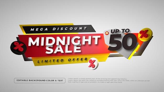 Цветный знак полуночной продажи 3d Бесплатные Psd