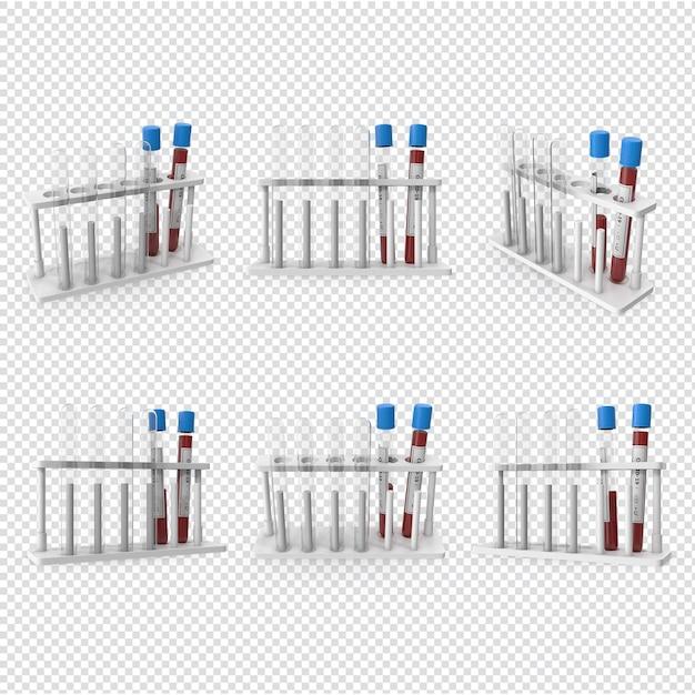 3d 코로나 바이러스 혈액 샘플 격리됨에 프리미엄 PSD 파일