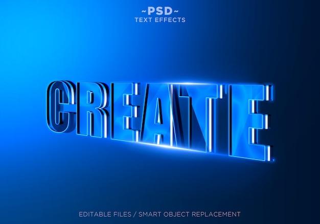 3d create blue editable text effect Premium Psd