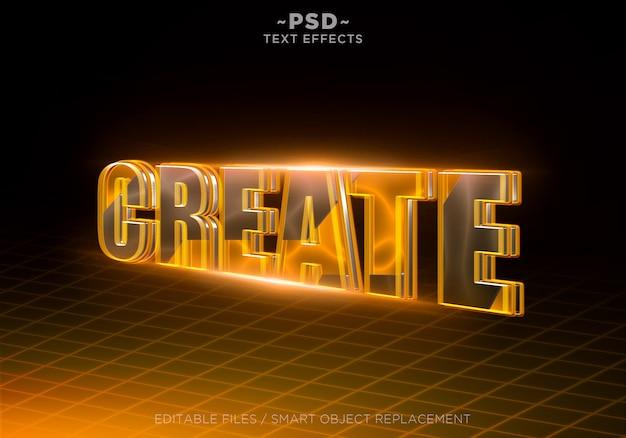 オレンジ色の効果を3d作成編集可能なテキスト Premium Psd