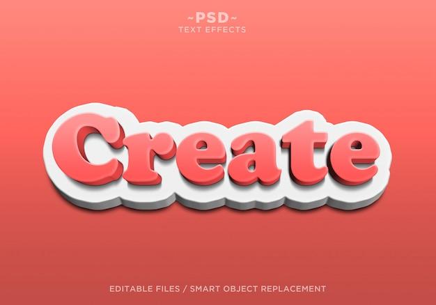 3d 빨간색 흰색 편집 가능한 텍스트 효과 만들기 프리미엄 PSD 파일