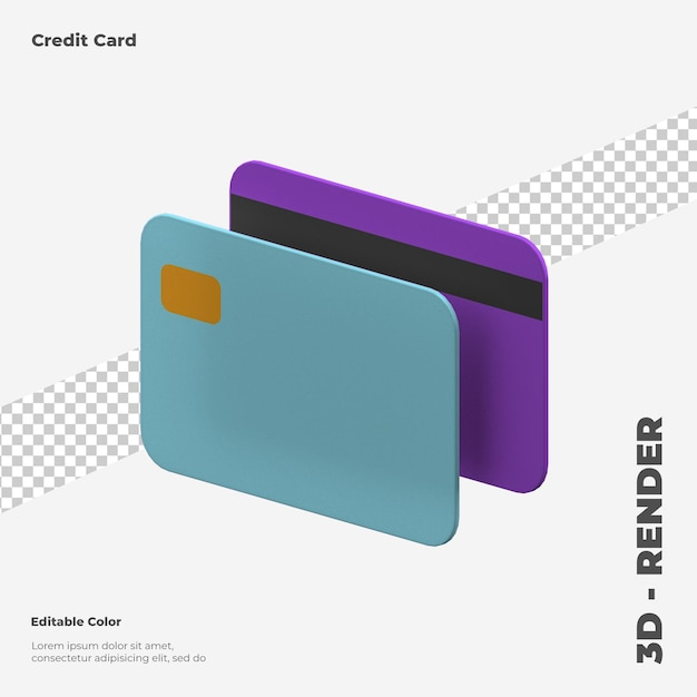 3d credit card 3d rendering isolated Premium Psd