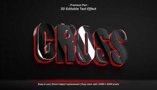 3d cross editable text effect Premium Psd