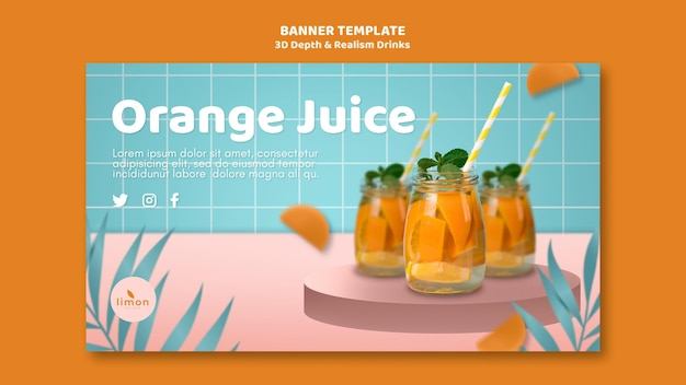 3d depth and realism drinks banner theme Free Psd