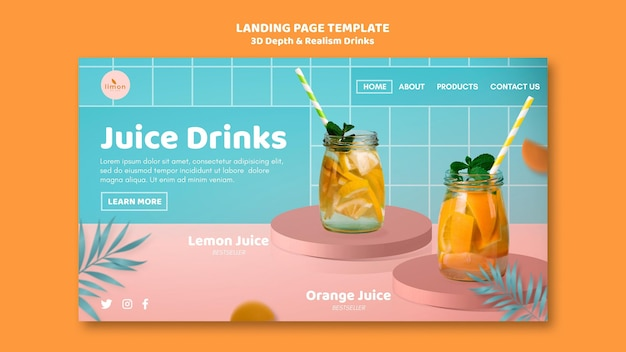 3d depth and realism drinks banner Free Psd