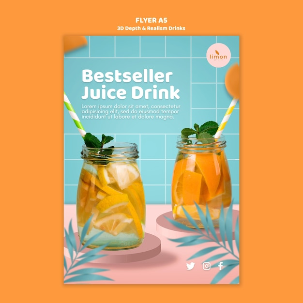 3d depth and realism drinks flyer template Free Psd