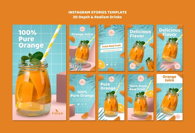 3d depth and realism drinks instagram stories theme Free Psd