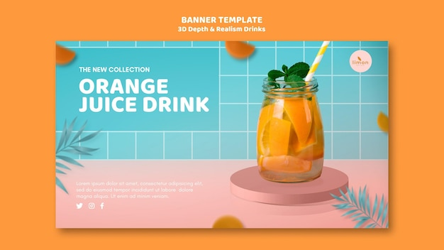 3d depth and realism drinks landing page concept Free Psd