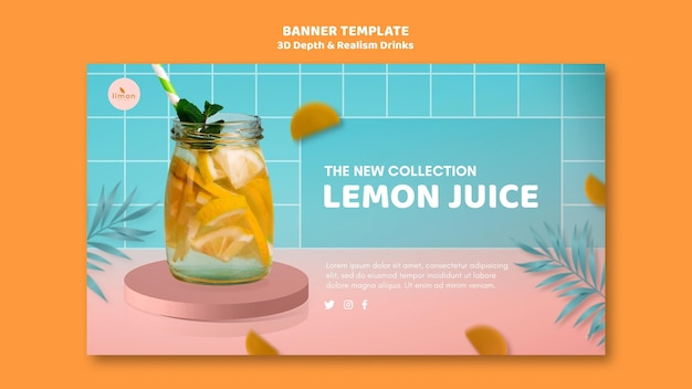 3d depth and realism drinks landing page design Free Psd