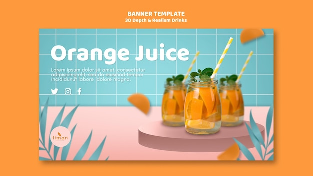 3d depth and realism drinks landing page theme Free Psd