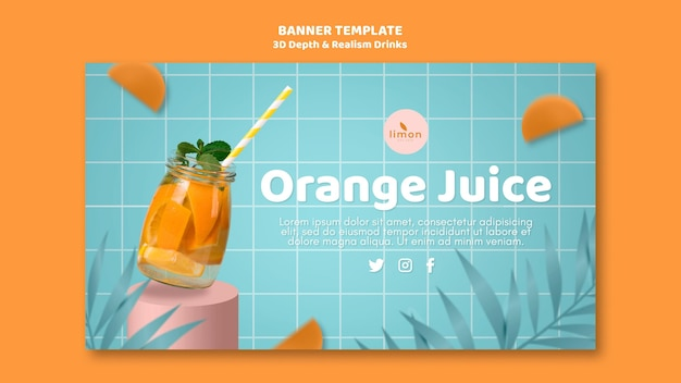 3d depth and realism drinks landing page Free Psd