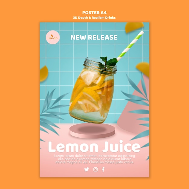3d depth and realism drinks poster concept Free Psd