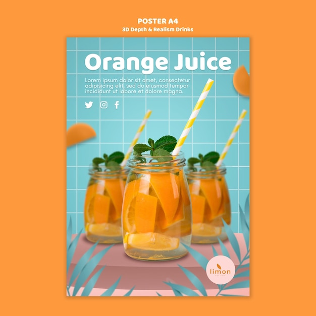 3d depth and realism drinks poster design Free Psd