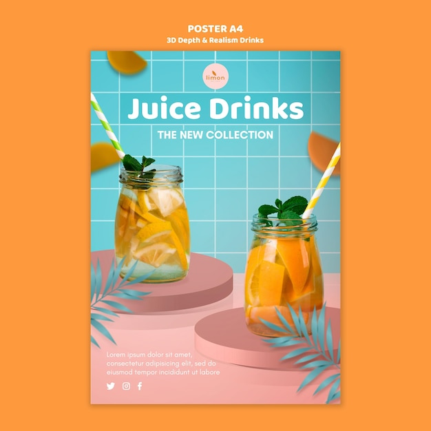 3d depth and realism drinks poster template Free Psd