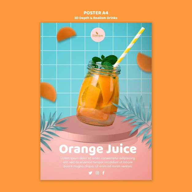 3d depth and realism drinks poster Free Psd
