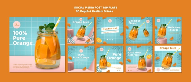3d depth and realism drinks social media post template Free Psd