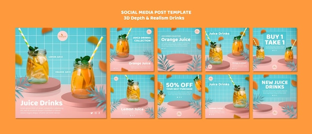 3d depth and realism drinks social media post Free Psd