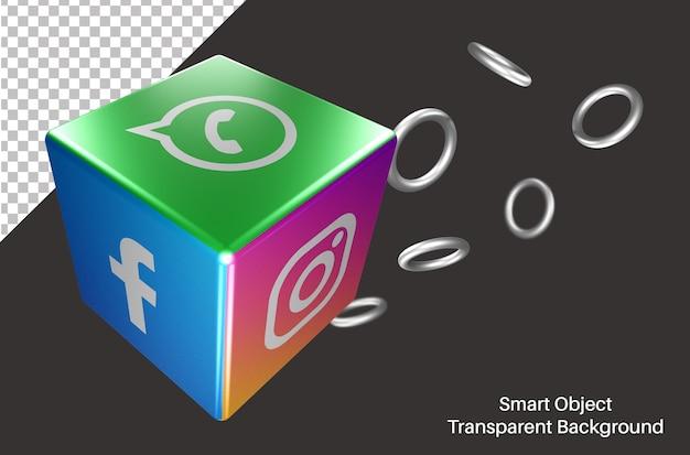 3d dice with whatsapp social media logo Premium Psd