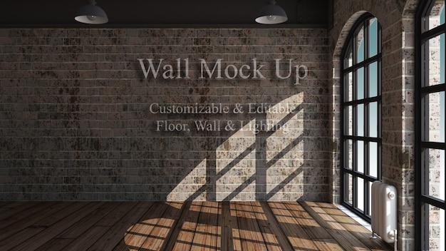 3d編集可能な部屋のインテリアのモックアップ 無料 Psd
