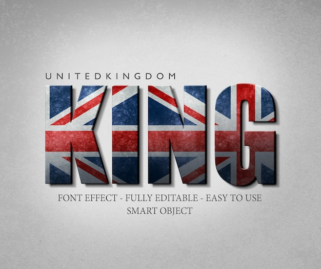 3d effect font united kingdom flag Premium Psd