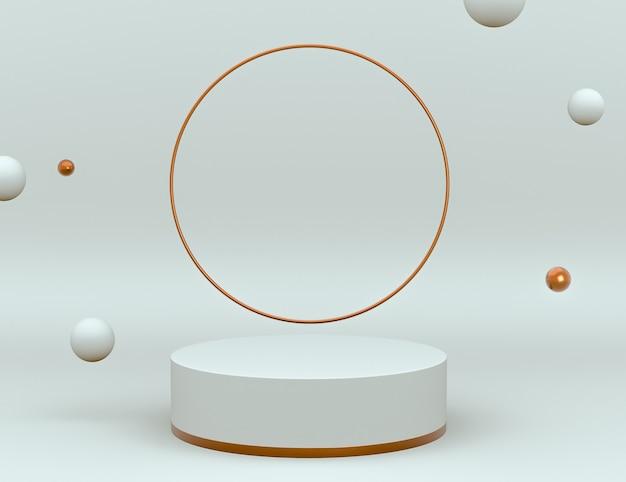 Elegante scena 3d bianca e in ottone con podio per posizionamento del prodotto e colore modificabile Psd Gratuite