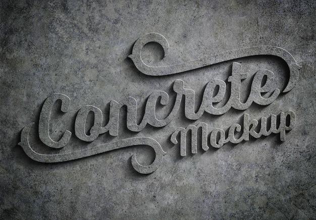 3d embossed concrete text effect mockup Premium Psd