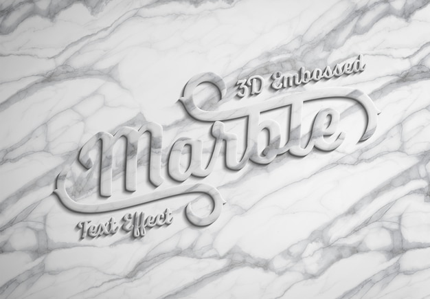 3d embossed marble text effect mockup Premium Psd