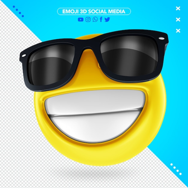 3d emoji with black sunglasses and a cheerful smile Premium Psd