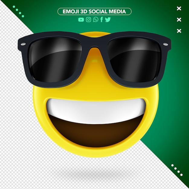3d эмодзи с очками и веселой улыбкой Premium Psd
