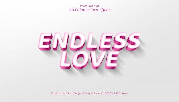3d endless love editable text effect Premium Psd