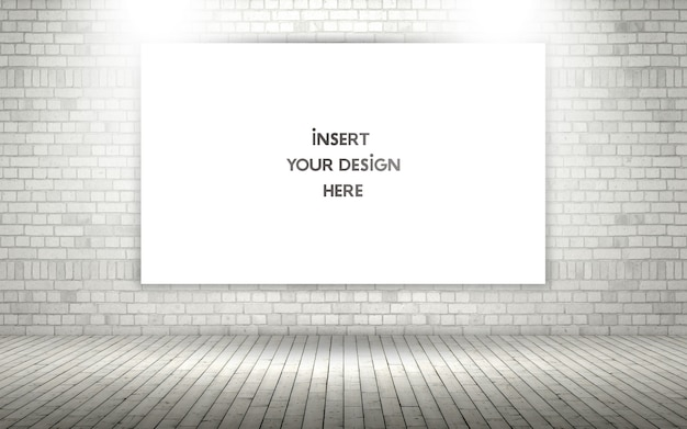 3d exposed brick wall with blank canvas mock up Free Psd