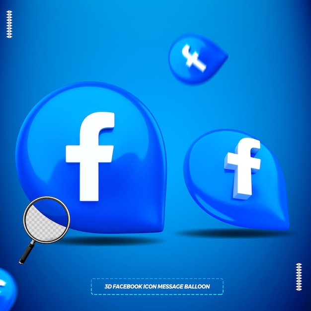 3d facebook icon in isolated message balloon for composition Premium Psd