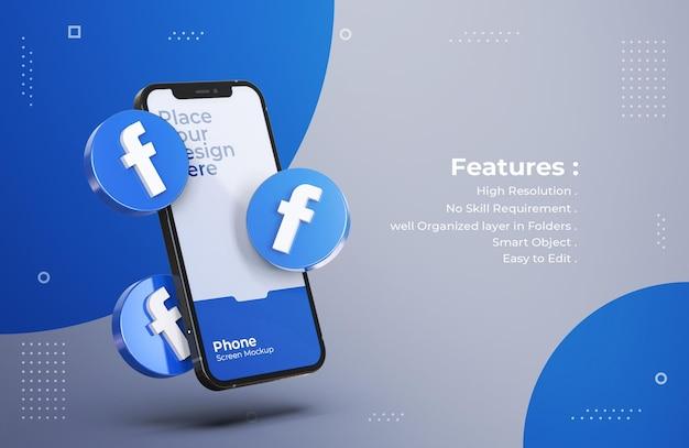 モバイル画面のモックアップと3dfacebookアイコン Premium Psd