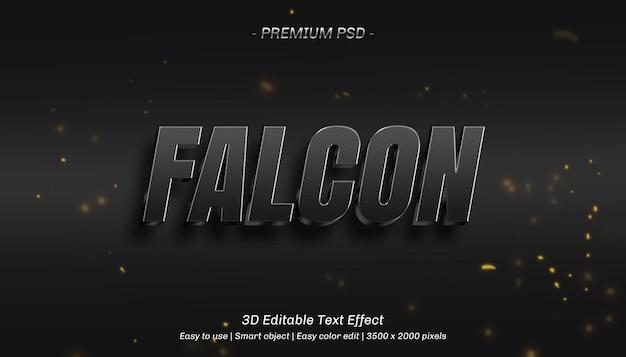 3d falcon редактируемый текстовый эффект Premium Psd