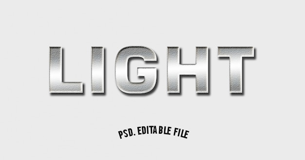 3d 글꼴 굵은 빛 금속 빛나는 이랑 프리미엄 PSD 파일