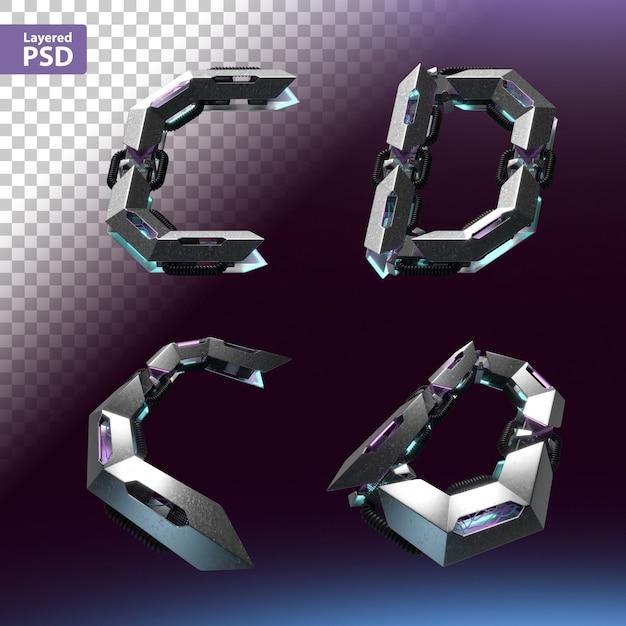 3d шрифт установлен в стиле киберпанк. письма с, d. Premium Psd
