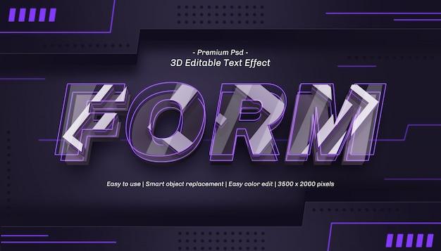 3d form editable text effect Premium Psd