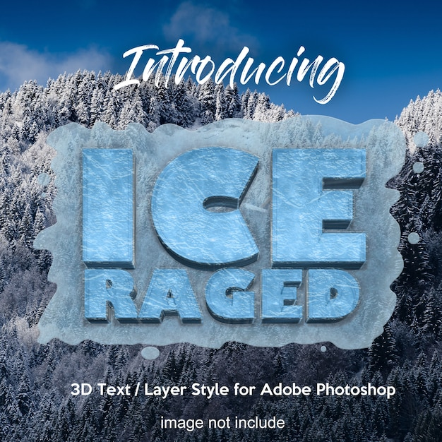 3d frozen ice photoshop layer style text effects Premium Psd