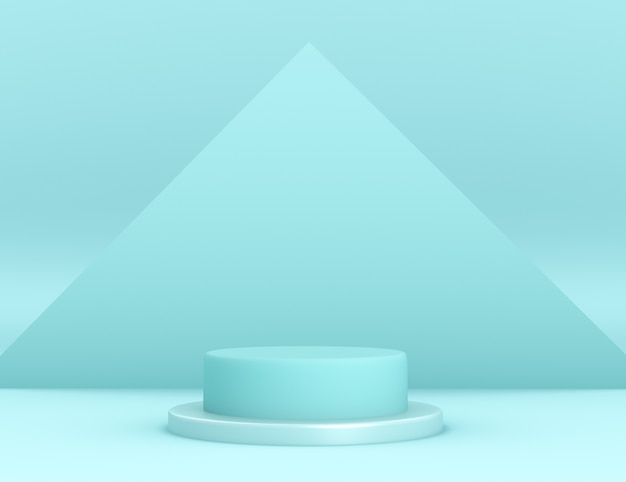 3d geometric cyan podium for product placement with triangular background and editable color Free Psd