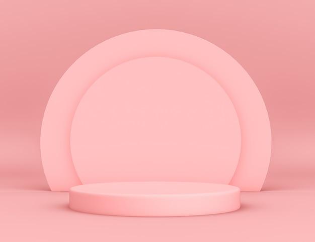 円形の背景と編集可能な色で製品を配置するための3d幾何学的なピンクの表彰台 無料 Psd