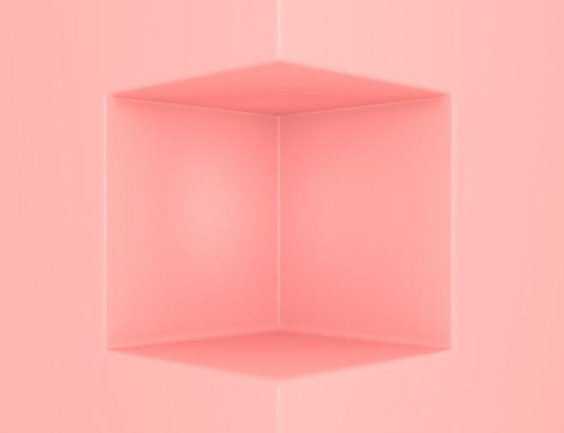 제품 배치 및 편집 가능한 색상을위한 큐브 공간이있는 3d 기하학적 핑크 장면 무료 PSD 파일