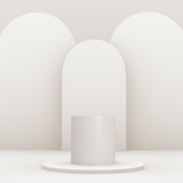 평면 및 편집 가능한 색상으로 만들어진 배경의 제품 배치를위한 3d 기하학적 흰색 연단 무료 PSD 파일