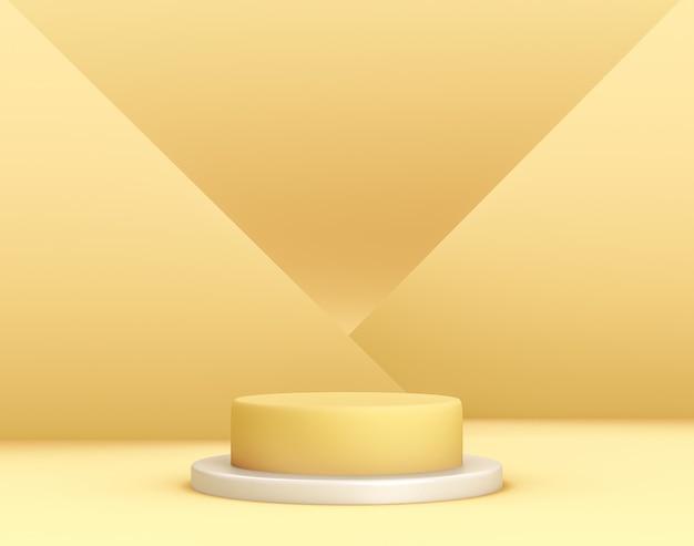 배경과 편집 가능한 색상의 교차 평면이있는 제품 배치를위한 3d 기하학적 노란색 연단 무료 PSD 파일