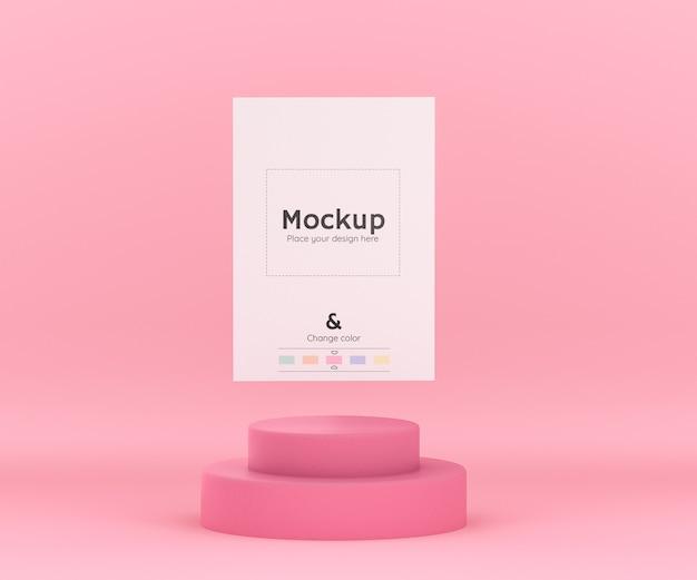 종이 시트 모형 및 편집 가능한 색상을위한 실린더 연단이있는 3d 기하학적 분홍색 환경 무료 PSD 파일