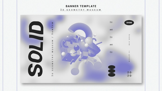 3d geometrical shapes banner template Free Psd